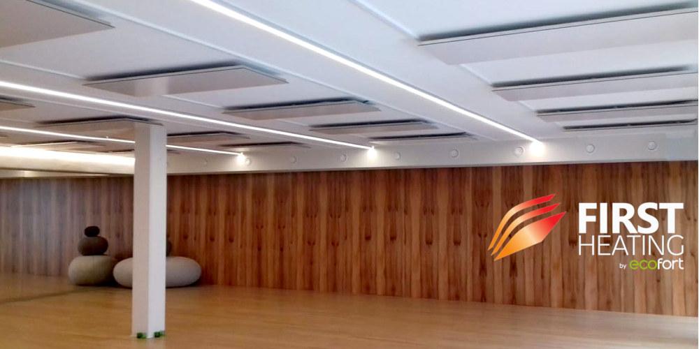 FIRST Heating Panels in einem Hot Yoga Raum